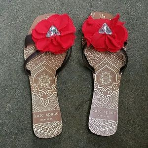 Kate Spade red flower sandals size 8